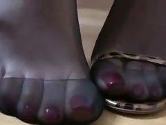 Ebony nylon and high heels