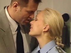 police wench has sex on desk in ebony stockings