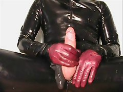 Sperm explosion with purple leather gloves (old one)