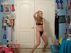 nice looking blondie teenager dancing on cam