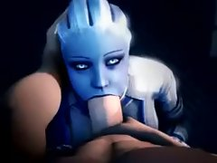 Mass Effect Liara Deepthroat cock sucking