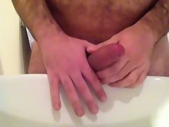 Bathroom masturbating quick cumshot