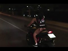 Thai fellow naked on bigbike around Chaingmai