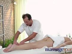 Massage Rooms Soft skinned beauty's succulent hole tingles after