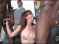 Aged mother owned by blacks in front of cuckold