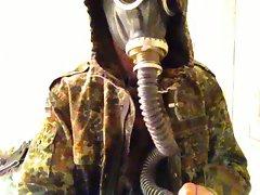 fun in bdu and gas mask