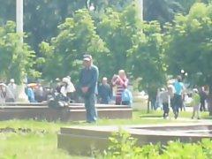 Sensual russian homeless man masturbates in the park