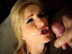 Bitch cougar like cum filthy all over her face