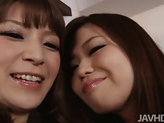 Sensual japanese idol Nao and a alluring gf drive the camera