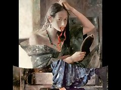Chinese Wenches and the Mirror - Paintings of Lu Jianjun