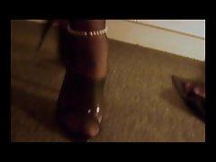 Nylon Stockings Crossdresser cock sucking cum on heels