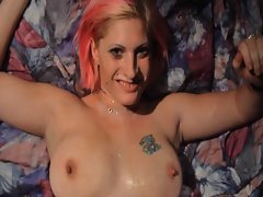 Pinky Haired Cougar Amanda Gets Her Knockers Covered In Filthy Jizz