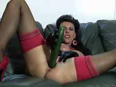 Red heels Cougar cucumbers lactating sexy fanny and carrots stunning anal
