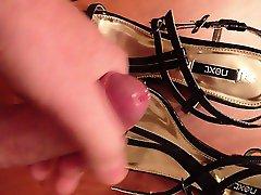 using wife's shoes watching hot girls masturbate