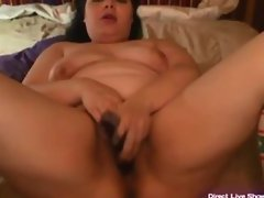 BBW Cherry masturbates her fat pussy with toys