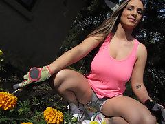 Pervert fucks horny huge-boob brunette gardener Jasmine outdoors