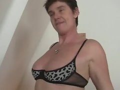 Granny takes two cocks after photosession