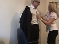 CFNM pussylicking session at office