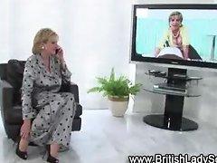 Horny mature brit in stockings