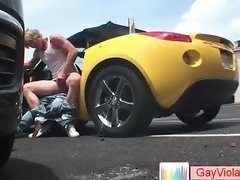 Blonde buddy getting poopshute hammered in vehicle part5