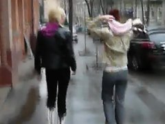 two russian babe on the street