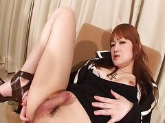 Hot Japanese Shemale Stroking