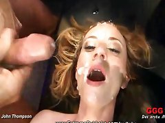 Tall blonde swallowed a lot in orgy