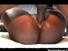 Big black babe rides a black cock,Amile Waters