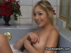 Blonde Asian Teen in Bubbles