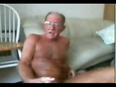 Jolly old twink with a helpless stinky poker whips out his cock