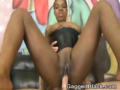 Dirty Black Ghetto Slut Pounded Roughly With White Cock