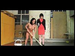 Slave Girl Mops Floor