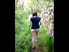 Sexy Voyeur British Milf Flashing Ass Walking Outside