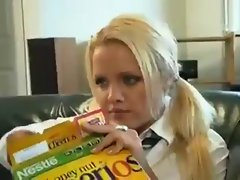 Horny Blonde School Girl Soaks The Sofa