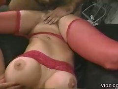 Busty brunette gets nailed and gets messy facial