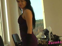 Hot czech brunette zuzinka tries on a sexy dress