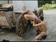 Hot gay cowboy action outdoors