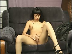 Steamy solo pussy playing with slender cum starving brunette