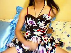 Nasty asian tranny jerking sweet cock in horny solo show on cam
