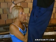 German blondie takes hardcore anal on the floor