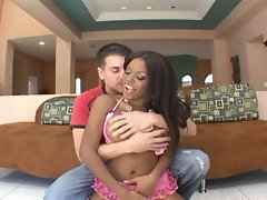 Sexy ebony with big tits and round ass gets fucked by white guy.