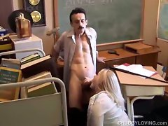 Sexy teen fatty sucks on teacher's cock in the classroom