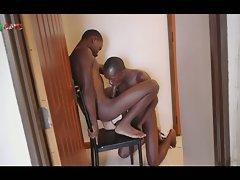 Black boys share a blowjob and bareback quickie