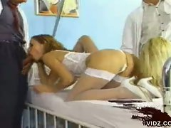 Two vintage sluts 69 in hospital bed and fuck two hot doctors