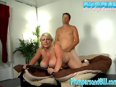 Chubby big tit blonde loves riding hard cock