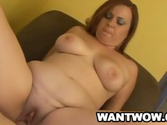 Mature babe toying her pussy and sucking a stiff cock