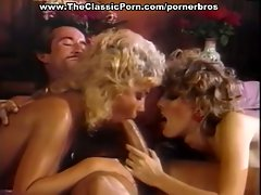 Dude's big dick deep in two chicks' mouths and pussies