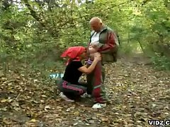 Granny seduces hot grandpa while jogging in the woods