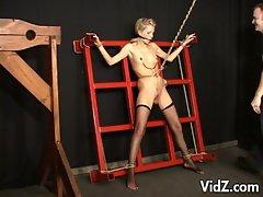 Bdsm blonde in stockings hot bondage