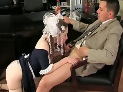 Naughty brunette cleaning girl in delicious raw pussy pounding